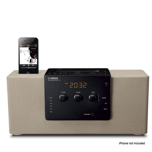 avad yamaha integrated audio system ipod iphone dock cd player led clock display grey. Black Bedroom Furniture Sets. Home Design Ideas